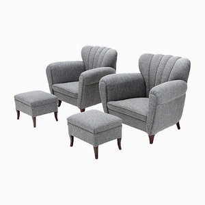 Italian Gray Lounge Chairs with Poufs, 1950s, Set of 2