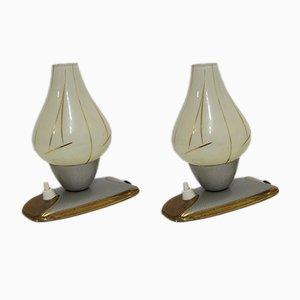 Lámparas de mesa francesas de vidrio y latón, años 50. Juego de 2