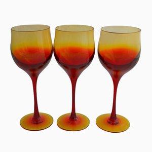 Copas de vino de Zbigniew Horbowy para Sudety Glassworks, años 70. Juego de 3