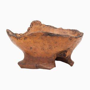 Svuotatasche o scodella brutalista in legno di ulivo, anni '60