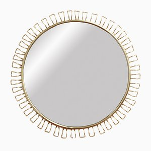 Round Wall Mirror in Brass by Josef Frank, 1960s