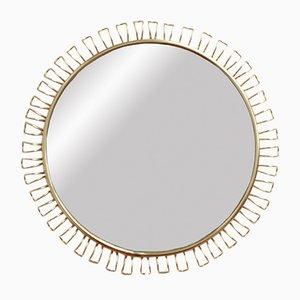 Specchio da parete rotondo in ottone di Josef Frank, anni '60