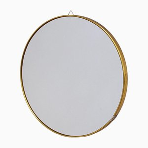 Round Italian Wall Mirror with Brass Frame, 1950s