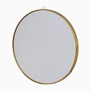 Specchio da parete rotondo in ottone, anni '50