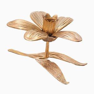 Scandinavian Floral Brass Candleholder, 1960s