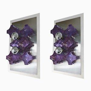 Applique in vetro pressato e acciaio inossidabile di Biancardi & Jordan Arte, anni '70, set di 2