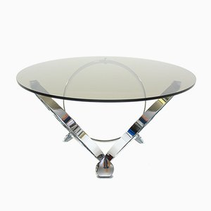 Chrome & Glass Round Coffee Table by Knut Hesterberg, 1970s
