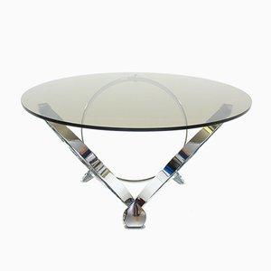 Tavolino da caffè rotondo in vetro e placcato in cromo di Knut Hesterberg, anni '70