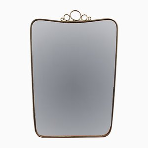 Mid-Century Italian Wall Mirror with Brass Frame by Gio Ponti, 1950s