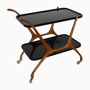 Italian Black Opaline Glass and Walnut Bar Cart, 1950s