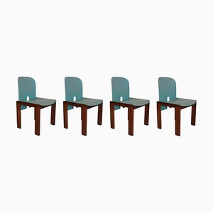 Model 121 Fabric & Walnut Chairs by Tobia & Afra Scarpa for Cassina, Set of 4