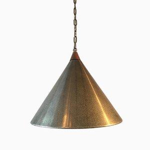 Lámpara colgante escandinava brutalista vintage de metal y teca
