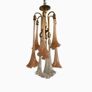 Lámpara de araña vintage floral de Murano de Gino Poli para Sothis