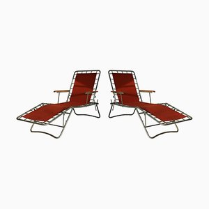 Italian Metal and Brick Red Canvas Loungers, 1950s, Set of 2