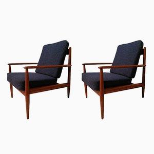 Modell 128 Armlehnstühle mit Rahmen aus Teak von Grete Jalk für France and Søn, 1960er, 2er Set