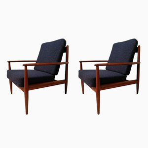 Teak Framed Model 128 Armchairs by Grete Jalk for France and Søn, 1960s, Set of 2
