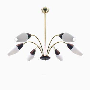 Moderner skandinavischer Kronleuchter aus Teak und Opalglas mit 8 Leuchten, 1950er