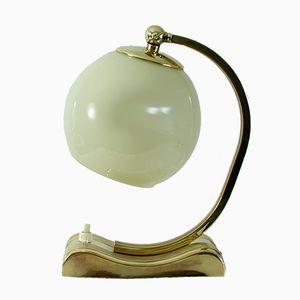 Lampada da tavolo in ottone e vetro opalino, anni '30
