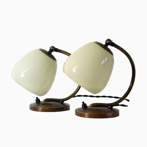 Bronze & Opal Glas Table Lamps, 1930s, Set of 2