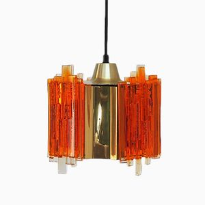 Brass & Plexiglas Pendant Light by Claus Bolby for CeBo Industri, 1970s