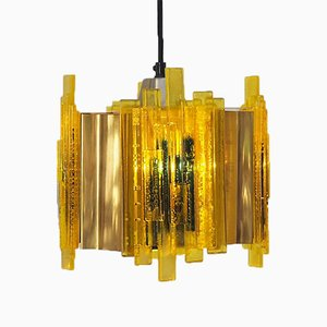 Octagon Plexiglas and Brass Pendant by Claus Bolby for Cebo Industri, 1970s