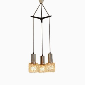 Trio Glass Pendant Lamp with Rosewood Suspension, 1960s