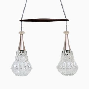 Danish Glass and Rosewood Double Pendant Lamp, 1960s