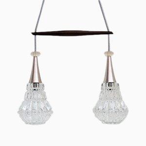 Lámpara colgante doble danesa de vidrio y palisandro, años 60