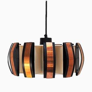 Lámpara colgante de cobre y acrílico de Werner Schou para Coronell Elektro, años 60