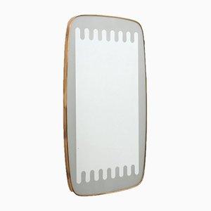 Spiegel aus Milchglas & Messing von Ettore Sottsass, 1950er