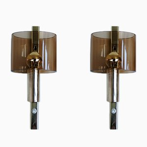 Wall Sconces Brass and Plexiglas from Hassel & Teudt, 1960s