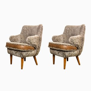 Lounge Chairs in Lambskin by Paul Boman, 1940s, Set of 2