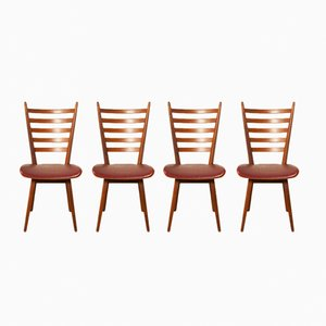 Red Dining Chairs, 1960s, Set of 4