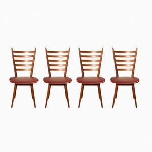 Rote Esszimmerstühle, 1960er, 4er Set
