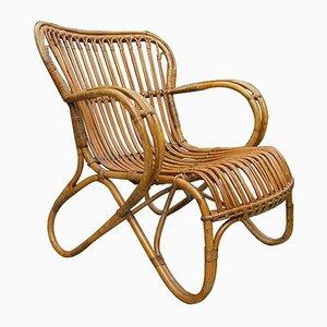 Cane & Rattan Lounge Chair, 1920s