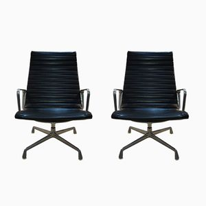EA 108 Vinyl & Aluminum Chairs by Charles & Ray Eames for Herman MIller, 1970s, Set of 2