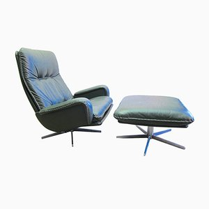 Swiss Lounge Chair S231 and Matching Ottoman from de Sede, 1970s