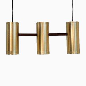 Lampe à Suspension Cylinder III en Laiton & Teck par Jo Hammerborg pour Fog & Mørup, 1960s