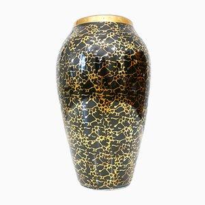 Vase Noir à Décor Doré par Józef Wrzesień pour Chodzież, 1950s