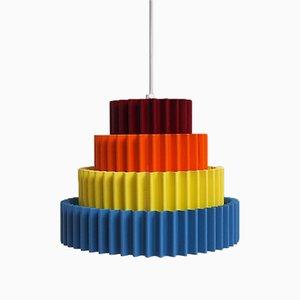 Lámpara colgante danesa de colores de Bodi Lampen, años 60