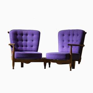 Sofá vintage de roble curvado de Guillerme & Chambron para Votre Maison