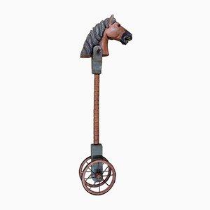 Cheval à Roulettes Sculpté et Peint Antique