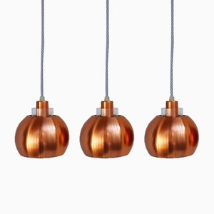 Lámparas colgantes de cobres, años 60. Juego de 3