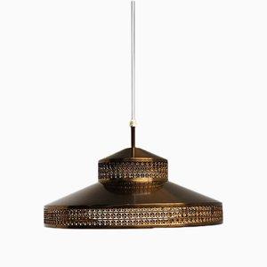 Lampe à Suspension Vintage en Laiton avec Abat-Jour en Verre