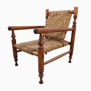 Vintage Rope Lounge Chair with Pair of Stools