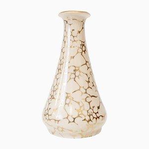 Beige Vase mit goldenem Dekor von Józef Wrzesień für Chodzież, 1950er