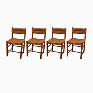 Dordogne Dining Room Chairs by Charlotte Perriand for Sentou, 1960s, Set of 4