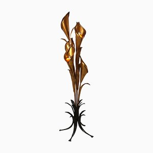 Large Vintage Tropical Flower Floor Lamp by Hans Kögl