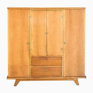 French Oak Wardrobe with Drawers & Mirrors, 1960s