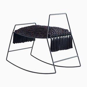 Handgemachter Schaukelpferd-Hocker aus matt-schwarzem Eisen & Stoff mit Sitzkissen von Iota Hand Stitched